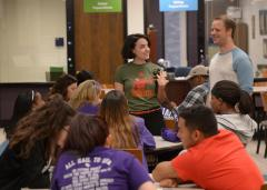 Leaders of the 2016 Generation Jacks Summer Leadership Academy speak with first-generation students Wednesday who are participating in the weeklong crash course on all things college. Data shows both overall retention rates and GPAs of participating first-generation students have improved since the GenJacks program was created by Stephen F. Austin State University faculty members in 2014.