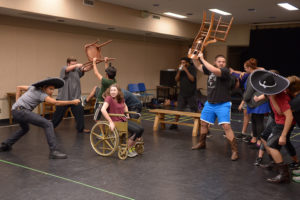 """The cast of """"Bloody Bloody Andrew Jackson"""" rehearses fight scenes in the rock musical."""