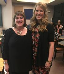 Mountainview Elementary School principal Melissa Pritchard, left, congratulates Stephen F. Austin State University alumna Ashlee Brewster on being named the 2016-17 Teacher of the Year. Brewster has taught second grade at Mountainview since August 2014.