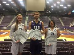 Pictured from left are Ladyjack Stevi Parker, Lumberjack Ivan Canete and Ladyjack Taylor Ross holding this year's Cram the Coliseum free admission tickets to the Northwestern State games set for March 2. (Photo contributed by SFA Athletics)