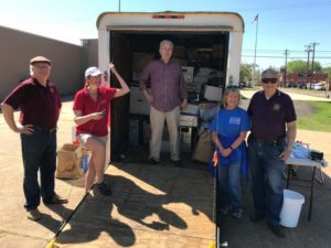 Keep Nacogdoches Beautiful directors (left to right) Jodie Stone, Kelly Daniel, Mike Keller, Robbie Goodrich and Tom Huey collect 2,350 lbs. of recycled electronics at Techcycle Saturday on March 25, 2017.
