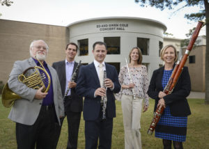 The Stone Fort Wind Quintet at SFA features, from left, Charles Gavin, horn; Christopher Ayer, clarinet; Kerry Hughes, oboe; Christina Guenther, flute; and Lee Goodhew, bassoon. The ensemble will perform at 7:30 p.m. Tuesday, March 28, in Cole Concert Hall on the SFA campus.