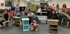 Stephen F. Austin State University interior design students built cardboard furniture to learn about casegoods (storage cabinetry) construction and sustainable design. The furniture is displayed on the second floor of the Steen Library on the university campus.