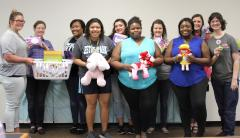 Members of Stephen F. Austin State University's Jacks Council on Family Relations collected items to donate to the Rainbow Room, which serves as a 24/7 resource center located within Child Protective Services offices.