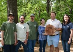 Dr. Jared Barnes, assistant professor of horticulture for Stephen F. Austin State University's Arthur Temple College of Forestry and Agriculture, is the recipient of the 2017 Keep Nacogdoches Beautiful Sustainability Award. The award recognizes community members who make a concerted effort to promote the role of sustainability throughout the Nacogdoches community. Pictured from left, horticulture students Chisolm Tessem, John Dilday and Colin Burke; Karen Barnes; Dr. Jared Barnes; and Jamie Bouldin, Keep Nacogdoches Beautiful board of directors' member.