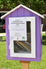 Stephen F. Austin State University elementary education students enrolled in Dr. Lauren Burrow's courses and a local Girl Scout created a free mini-library outside of Brooks-Quinn-Jones Elementary School to promote literacy in the community.