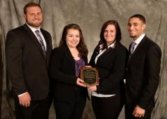 Stephen F. Austin State University Rusche College of Business undergraduate students Derek Orlando, management major; Juliana Romero, human resources management major; Kimberli Scott, marketing major; and Corey Johnson, marketing major; placed third in the Society for Advancement of Management during the undergraduate CASE Competition.