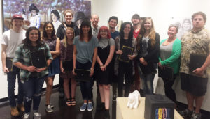 Among the recent School of Art scholarship and award winners are, front, from left, Jacqueline Morales, Gabriela Hijar Soto, Bailey Crow, Korey Burns, Katie Liller, Sarah Jentsch, Shelby Locklin, Sherry Snowden, Jimmy Don Snowden, back, from left, Chris Wicker, Emily Buckland, Christopher Talbot, director of the School of Art, Austin Cullen and Jacob Moffett.