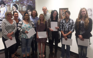 Some of the SFA Art Alliance 2017 Spring Show winners and their faculty sponsors are, front, from left, Sharon Robinson, Selena Rodriguez, Bailey Crow, Sarah Jentsch, Javier Vega, Shelby Locklin, back, from left, Michelle Filer, Jill Carrington, professor and Art Alliance treasurer, and Christopher Talbot, director, School of Art.