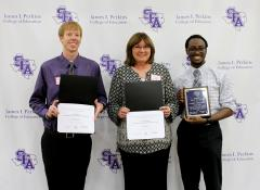 Stephen F. Austin State University's James I. Perkins College of Education recently honored outstanding students at its Biannual Clinical/Student Teacher Celebration. Pictured, from left, Zachary Tarvin, kinesiology senior from Arlington, who was awarded the Roy Hanna Outstanding Men's Kinesiology Graduate; Wendy West, early childhood through sixth grade senior from Azle, Texas, who was named the Janice A. Pattillo Outstanding Graduate; and TJ Davis, theatre education senior from Beaumont, who was awarded Exemplary Clinical/Student Teacher for the Department of Secondary Education and Educational Leadership.