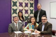 Representatives from Stephen F. Austin State University and LeTourneau University recently signed an articulation agreement ensuring a seamless transition for LETU students pursuing a Master of Science in athletic training at SFA. Pictured, seated from left, Dr. Wayne Jacobs, professor of kinesiology at LETU; Dr. Judy Abbott, dean of the James I. Perkins College of Education at SFA; and Dr. Larry Frazier, dean of LETU's College of Education, Arts and Sciences. Standing, Dr. Linda Bobo, professor of kinesiology and health science at SFA; and Dr. Troy Davis, interim chair of the Department of Kinesiology and Health Science at SFA.