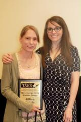 Jillian Daigle, a Stephen F. Austin State University graduate student from Magnolia, has been awarded the Mike Shirley Orientation and Mobility Student Award for 2017. During the Texas Association for Education and Rehabilitation of the Blind and Visually Impaired conference, SFA instructor Heather Munro, right, presented Daigle with the award.
