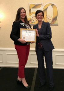 Keep Nacogdoches Beautiful Executive Director Katie Blevins was awarded with the Gold Star Recognition Plaque by Keep Texas Beautiful Executive Director Suzanne Kho during the 2017 Keep Texas Beautiful Conference in San Antonio, TX.