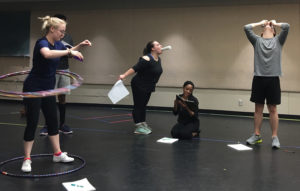 "SFA theatre students, from left, Baytown freshman Jordyn Averitte as Sophie; Chandler senior Jessica Benson as Bean; Mesquite junior Zaria Harp as Ivy; and Princeton, Texas, junior Connor Morrison as Leo rehearse a scene from the upcoming SummerStage Festival presentation of ""Ivy + Bean the Musical"" at SFA."