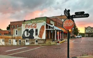 This photograph of downtown Nacogdoches by Ryan Russell is among the images available on postcards and notecards to be sold in an art scholarship fundraiser sponsored by the SFA Friends of the Visual Arts.