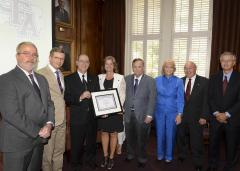 Stephen F. Austin State University's Board of Regents recognized Luminant, a subsidiary of Vistra Energy, for the company's contributions to environmental education and the advancement of research, scholarship, and student and faculty member development at SFA for nearly 50 years. Pictured, from left, are Dr. Hans Williams, dean of SFA's Arthur Temple College of Forestry and Agriculture; David Alders, chair of the Board of Regents; Sid Stroud, manager for mine compliance at Luminant; Kim Mireles, senior director of Luminant environmental services; Dr. Baker Pattillo, SFA president; Shawn Glacken, retired senior vice president of environmental services at Luminant; Dick White, retired vice president of environmental services at Luminant; and Dr. Paul Zweiacker, retired senior director of environmental services at Luminant.