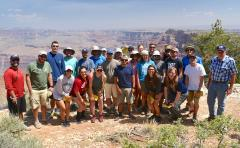 Students taking part in Stephen F. Austin State University's annual Geology Field Camp pose for a photo at the Grand Canyon with, far right, Dr. LaRell Nielson, SFA professor of geology.