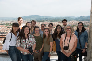 SFA students at the top of the Dome of Florence Cathedral include, front, from left, Korey Burns, Grayson, Louisiana, graduate student; Jacqueline Morales, Plano senior; Bethany Sailer, Mineral Wells senior; Kate Bretches, Longview junior; Cynthia Silva, Dallas senior; Sharon Robinson, Nacogdoches graduate student; back, from left, Jacob Thornton, Lufkin junior; Kenzie Kwiatkowsky, Marietta, Georgia, freshman; Jacob Moffett, Hockley junior; Michelle Galvan, Austin junior; Madison Green, Flower Mound junior; Austin Cullen, Cypress sophomore; and Sarah Jentsch, Etoile junior. Not shown is Emily Payne, Winnie senior.