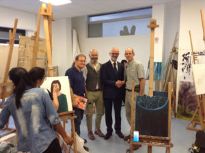 SFA faculty toured the painting studio in the LABA facilities. Shown with Dr. Mauro Manetti, second from right, director of LABA, are, from left, Dr. David Lewis, SFA art professor; a LABA painting professor; and Christopher Talbot, director, SFA School of Art.