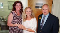 The Nacogdoches County Chamber of Commerce Board of Directors named the Nacogdoches Treatment Center as the first recipient of the Non-Profit of the Year award. Pictured from left are Chamber Chairman Scarlett Sloane Long, the center's Executive Director Kathy Strong, and Chamber President/CEO C. Wayne Mitchell. (Photo by Kelly Daniel)