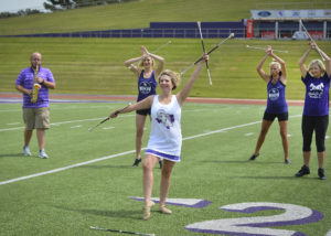 Plans are in place for the SFA Lumberjack Marching Band and Twirl-O-Jacks Reunion on Saturday, Sept. 16, with a pre-game show at 5:30 p.m. in Homer Bryce Stadium to feature band alumni and twirlers from several decades. Rehearsing for the performance are, from left, Brandon Beavers, Kristen Badders Conklin, Paige Pattillo-Brown, Chelsey Chandler Brewer and Candice Curbow. The SFA Lumberjacks will take on Incarnate Word at 6 p.m.