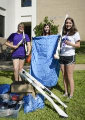 The SFA School of Music recently mailed items to benefit the band at C.E. King High School. Pictured are, from left, Sarah Williford, sophomore from The Colony; Jessica Yancey, sophomore from Athens; and Lizzi Pineiro, senior from Katy.