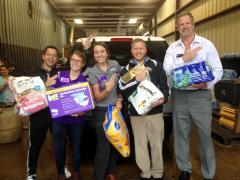 Staff members from Stephen F. Austin State University's Student Recreation Center delivered donations to Drewery Construction as part of the university's Hurricane Harvey relief efforts. Pictured, from left, are Ben Telesca, assistant director of facilities and member services; Anna Niemeyer, graduate assistant for Outdoor Pursuits; Katie Taylor, graduate assistant for facilities and member services; Chris Morriss, coordinator of intramural sports and camps; and Ken Morton, director of campus recreation.