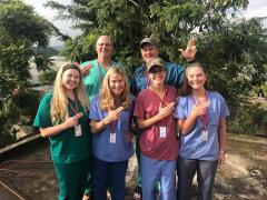 Stephen F. Austin State University dietetic intern graduate students joined four SFA alumni working in health-care-related fields on a recent trip to help those in need in Guatemala. Pictured, front row, from left, are Leslie Rowe, SFA dietetic intern graduate student; Leslie Goudarzi and Hannah Dunahoe, SFA alumnae and registered dietitians; and Brandi Gouldthorpe, SFA dietetic intern graduate student. Back row, from left, are Dr. Ben Mack, general surgeon in Longview, and Dr. Tedd Mitchell, president of Texas Tech University Health Sciences Center and internist.