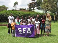 Dr. Flora Farago, assistant professor in Stephen F. Austin State University's human development and family studies program, helped organize a children's library while volunteering in Kenya this summer. The Jirani Project, a grassroots, nonprofit organization dedicated to the education and support of vulnerable Kenyan children, sponsored the library. Farago is pictured on the right.