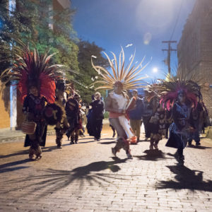 The popular Chikawa Aztec Dancers will return to Nacogdoches for the 5th annual Día de los Muertos Fiesta Saturday, Nov. 4, in downtown Nacogdoches. Photo courtesy of Bill Nieberding