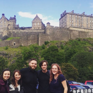 Among the students representing the SFA School of Theatre this past August during the Edinburgh Festival Fringe were, from left, Sarah Loveday, Cortney Francisco, Bobby Britton, Jason Trevino and Maddie Collins. Edinburgh Castle is in the background.