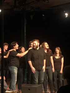 "SFA theatre students perform on stage with former student and playwright of ""Closed For Repairs"" Bobby Britton, center, at the Edinburgh Festival Fringe in Scotland."