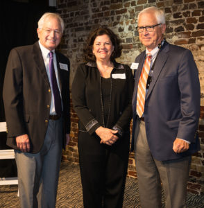 "Former Nacogdoches Mayor Roger Van Horn, right, was honored by the College of Fine Arts Dean's Circle at its recent reception and fundraiser. Dr. A.C. ""Buddy"" Himes, dean of the College of Fine Arts, and Mayor Shelley Brophy are also pictured."