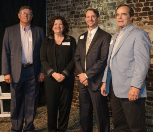 Nacogdoches Mayor Shelley Brophy recognized Winners' Circle event sponsors at the recent reception and fundraiser, including Kim Crisp, owner of The Old Tobacco Warehouse where the event was held; Ian Gibson, business development manager at Nacogdoches Medical Center; and Ron Johnson, CBH Insurance Agency, Inc.