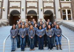 Stephen F. Austin State University will host its fourth-annual Purple Premium Cattle Sale beginning at 10 a.m. Saturday, Nov. 11, at the Walter C. Todd Agricultural Research Center. All aspects of the sale are planned and executed by students enrolled in the advanced beef science course (pictured) taught by Dr. Erin Brown, professor of animal science at SFA's Arthur Temple College of Forestry and Agriculture. Attendees will have the opportunity to bid on 30 purebred lots, as well as more than 200 head of commercial females.