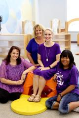 Several current teachers in Stephen F. Austin State University's Early Childhood Lab began their careers with the lab as student teachers while in the elementary education program at SFA. Pictured, from left, are Dr. Lori Harkness, director; Karen Farris, pre-kindergarten I master teacher; Emily Tacquard, pre-kindergarten II master teacher; and Tammy Wall, infant teacher.
