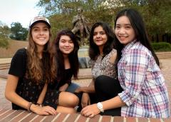 This semester, SFA is hosting its most diverse group of foreign exchange students with 14 undergraduate and graduate students representing six countries. Some of the participants include, from left to right, Kay Dimech from Malta, Mariem Hmidy from Tunisia, Sujata Panjwani from Pakistan and Jessica Wu from Taiwan.
