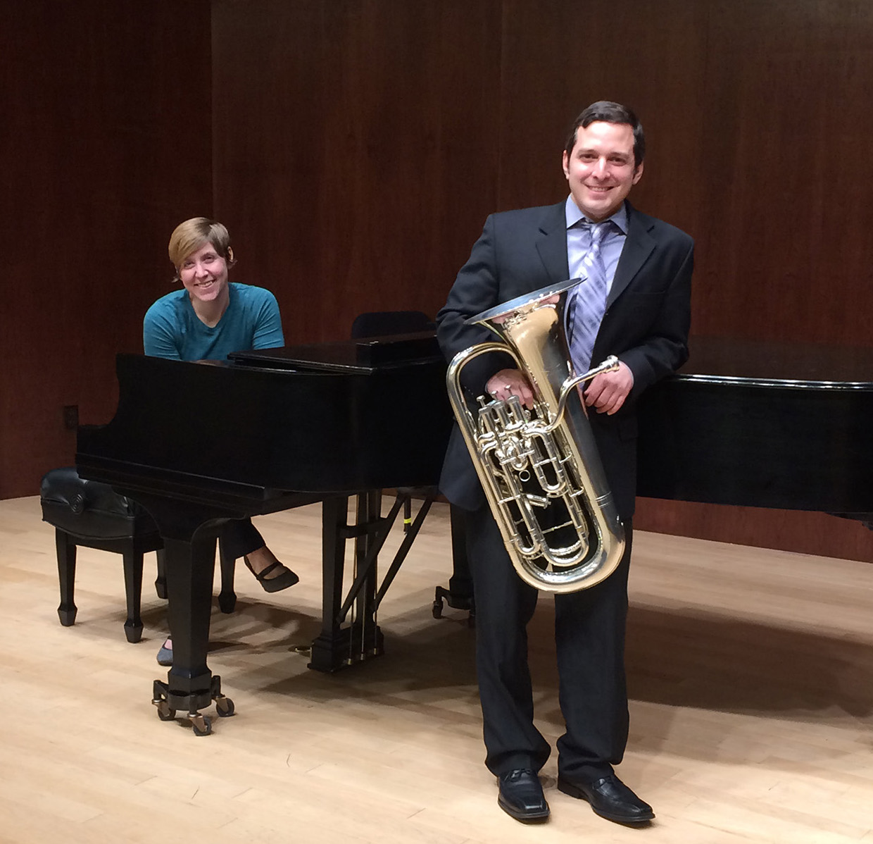 """SFA music faculty members Kayla Roth and Dr. Danny Chapa, along with Dr. J.D. Salas, associate professor of tuba and euphonium, will perform """"A Night of Song"""" at 6 p.m. Tuesday, Dec. 5, in the Music Recital Hall on the SFA campus."""