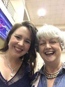 """Emily Mitchell, artist-in-residence in SFA's School of Music, is pictured with Camille Wolaver of the Annie Moses Band. The College of Fine Arts will present """"Christmas with the Annie Moses Band"""" at 7:30 p.m. Tuesday, Dec. 12, in W.M. Turner Auditorium."""