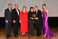 Susan and Sam Calomino were inducted into the Fredonia Society Saturday during SFA's 29th annual Gala. Pictured, from left, are David Alders, SFA Board of Regents chair; Jimmy Mize, SFASU Foundation Board of Trustees chair; sisters Sally Dawson and Susan Calomino; Dr. Baker Pattillo, SFA president; and Jill Still, SFA vice president for university advancement.