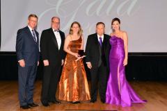 Lauren Selden, SFA associate professor of art, received the 2017 Faculty Achievement Award for Teaching Saturday during SFA's 29th annual Gala. Pictured, from left, are David Alders, SFA Board of Regents chair; Jimmy Mize, SFASU Foundation Board of Trustees chair; Selden; Dr. Baker Pattillo, SFA president; and Jill Still, SFA vice president for university advancement.