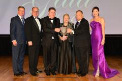 Greg Williams, vice president of BancorpSouth, received the Nancy Speck Award Saturday during SFA's 29th annual Gala. Pictured, from left, are David Alders, SFA Board of Regents chair; Jimmy Mize, SFASU Foundation Board of Trustees chair; Williams; Dr. Nancy Speck; Dr. Baker Pattillo, SFA president; and Jill Still, SFA vice president for university advancement.