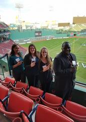From left: During the Sport Marketing Association conference in Boston, Stephen F. Austin State University students Erica Wiggins, Taylor DuRee, Gabrielle Jones and Marcus Brown had the opportunity to visit local attractions, as well as attend a social at Fenway Park.