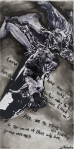 """""""Junko Chodos: Can We Hear Our Own Voice?"""" features mixed media pieces and drawings and will show from Jan. 25 through March 25 in The Cole Art Center @ The Old Opera House. A reception with the artist is from 6 to 8 p.m. Saturday, Jan. 27."""
