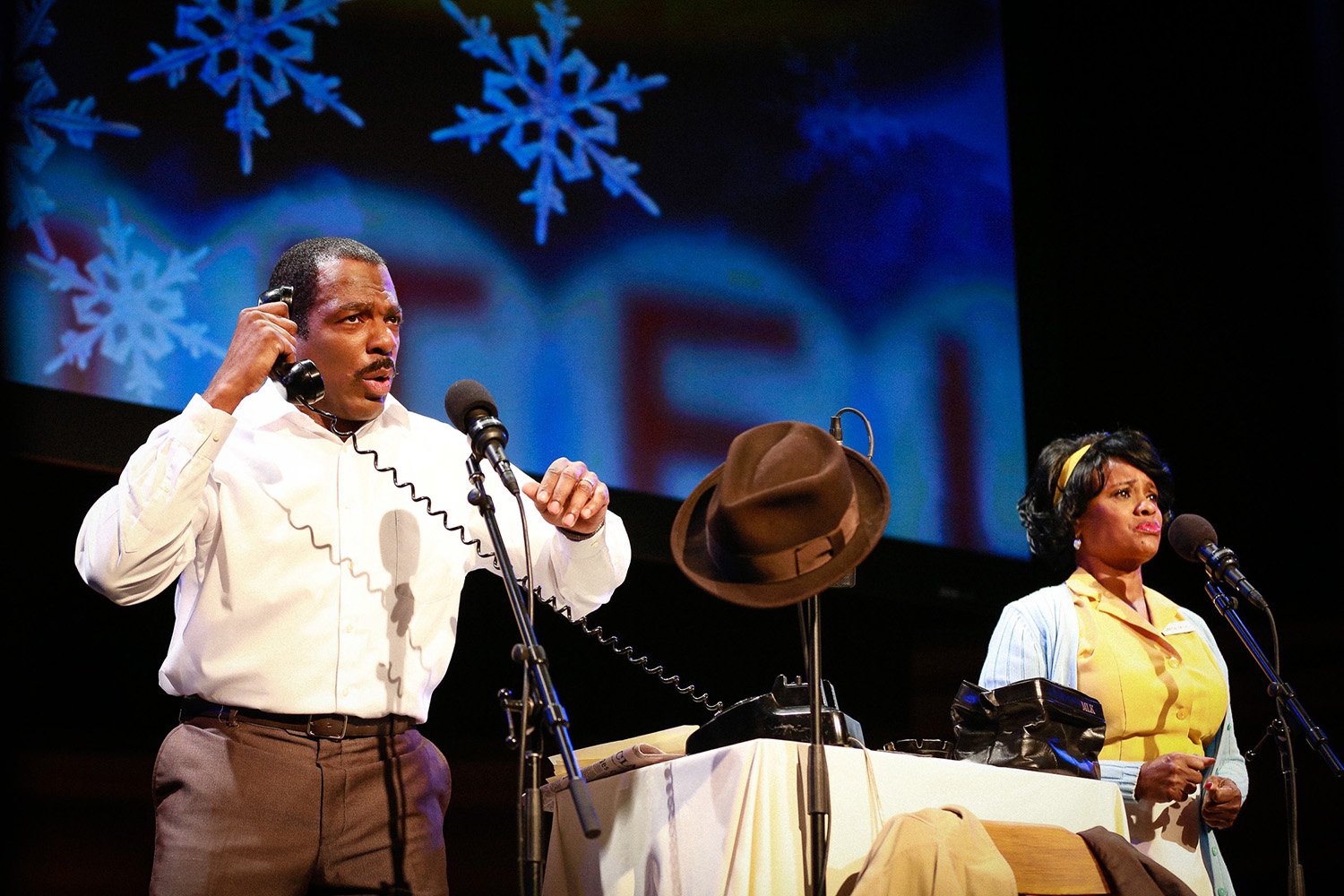 "L.A. Theatre Works' ""The Mountaintop"" stars Gilbert Glenn Brown and Karen Malina White. SFA's University Series presents this internationally acclaimed play by Katori Hall at 7:30 p.m. Saturday, Feb. 3, in W.M. Turner Auditorium on the SFA campus."