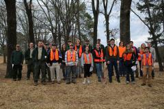 Forestry students from Stephen F. Austin State University's Arthur Temple College of Forestry and Agriculture and representatives from the Texas A&M Forest Service led approximately 1,000 volunteers through proper planting techniques and tree care during the City of Tyler's Arbor Day Celebration held Jan. 27. Pictured are SFA participants, wearing orange vests, as well as staff members of the Texas A&M Forest Service.