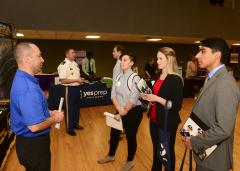 From left: SFA STEM students Steven Choate, Tenay Barker, Lauren Kiefer and Henry Braulio network with potential employers during SFA's first STEM Career and Internship Expo.